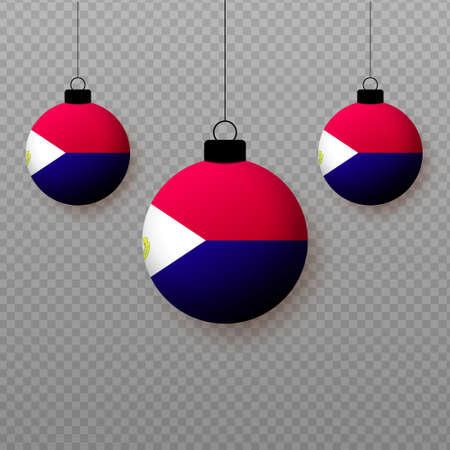 Realistic Saint Martin Flag with flying light balloons. Decorative elements for national holidays. Ilustração
