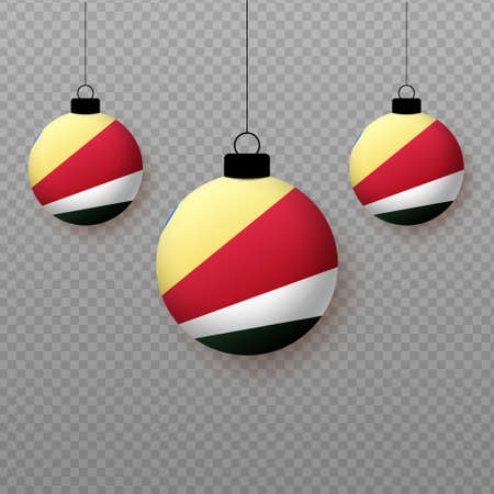 Realistic Seychelles Flag with flying light balloons. Decorative elements for national holidays.