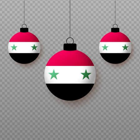 Realistic Syria Flag with flying light balloons. Decorative elements for national holidays. Ilustração