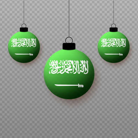Realistic Saudi Arabia Flag with flying light balloons. Decorative elements for national holidays.