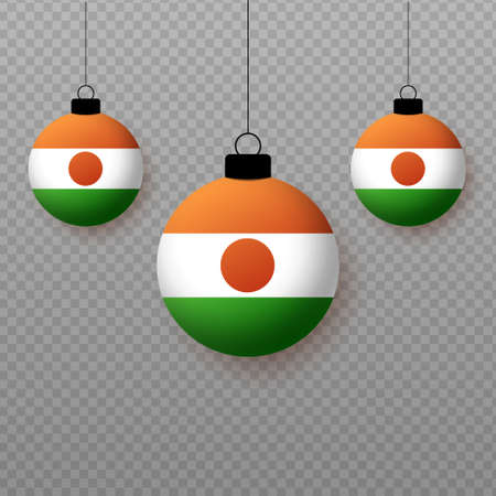 Realistic Niger Flag with flying light balloons. Decorative elements for national holidays.
