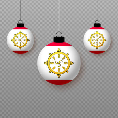 Realistic Sikkim Flag with flying light balloons. Decorative elements for national holidays.