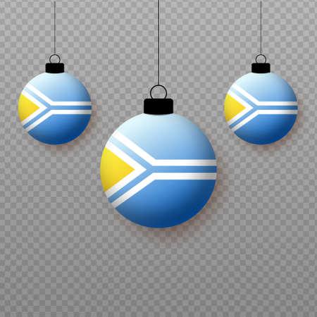 Realistic Tuva Flag with flying light balloons. Decorative elements for national holidays. Ilustração