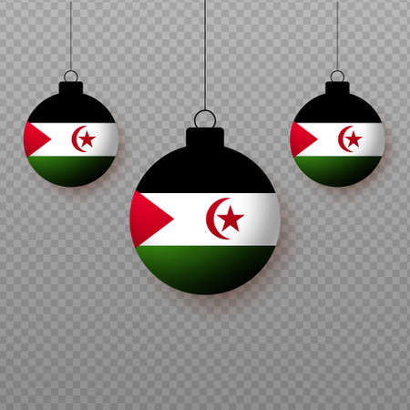 Realistic Western Sahara Flag with flying light balloons. Decorative elements for national holidays.