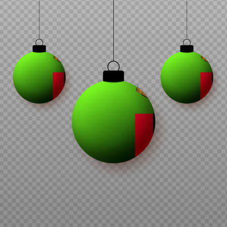 Realistic Zambia Flag with flying light balloons. Decorative elements for national holidays. Ilustração