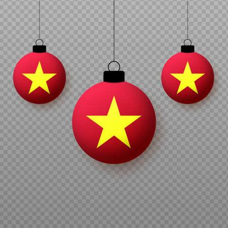 Realistic Vietnam Flag with flying light balloons. Decorative elements for national holidays. Ilustração