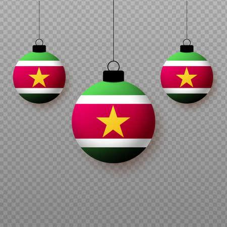 Realistic Suriname Flag with flying light balloons. Decorative elements for national holidays. Ilustração