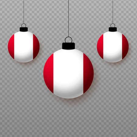 Realistic Peru Flag with flying light balloons. Decorative elements for national holidays. Ilustração