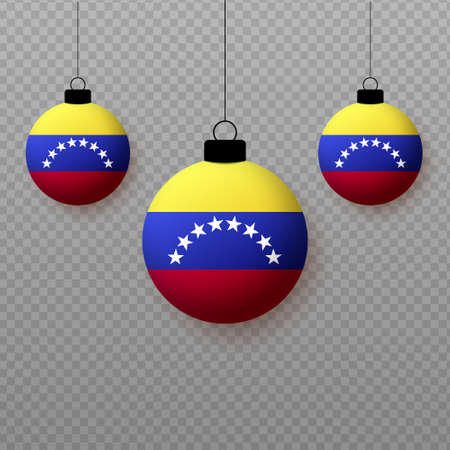 Realistic Venezuela Flag with flying light balloons. Decorative elements for national holidays.