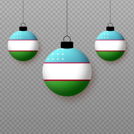 Realistic Uzbekistan Flag with flying light balloons. Decorative elements for national holidays.