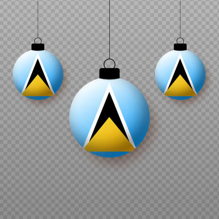 Realistic Saint Lucia Flag with flying light balloons. Decorative elements for national holidays. Ilustração