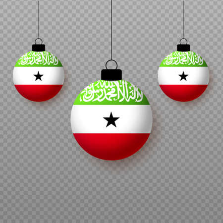 Realistic Somaliland Flag with flying light balloons. Decorative elements for national holidays.