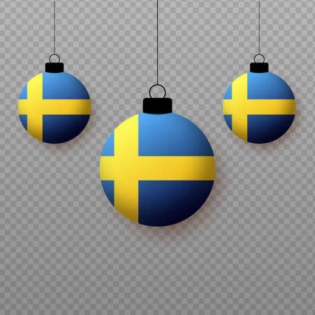Realistic Sweden Flag with flying light balloons. Decorative elements for national holidays.