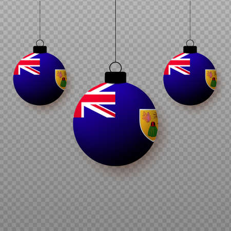 Realistic Turks and Caicos Islands Flag with flying light balloons. Decorative elements for national holidays.