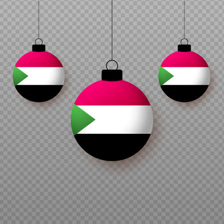 Realistic Sudan Flag with flying light balloons. Decorative elements for national holidays.