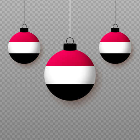 Realistic Yemen Flag with flying light balloons. Decorative elements for national holidays.