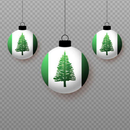 Realistic Norfolk Island Flag with flying light balloons. Decorative elements for national holidays.