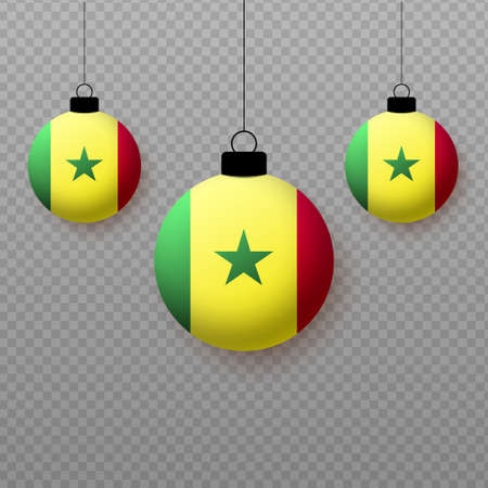 Realistic Senegal Flag with flying light balloons. Decorative elements for national holidays. Ilustração