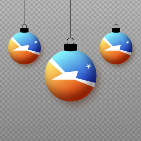 Realistic Tierra de Fuego Flag with flying light balloons. Decorative elements for national holidays.