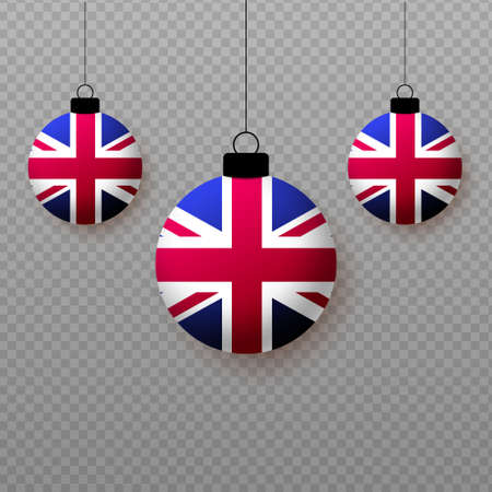 Realistic United Kingdom Flag with flying light balloons. Decorative elements for national holidays.
