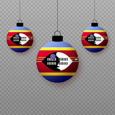 Realistic Swaziland Flag with flying light balloons. Decorative elements for national holidays.