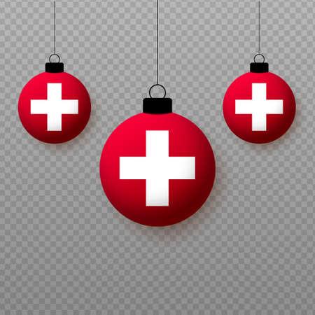 Realistic Switzerland Flag with flying light balloons. Decorative elements for national holidays. Ilustração