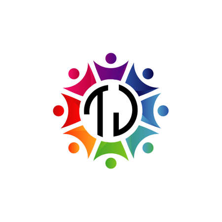 Colorful Community Initial Letters TJ logo. Purpose for network, team or social work Logó