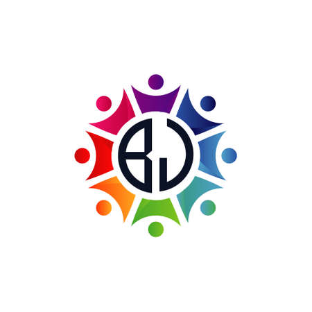 Colorful Community Initial Letters BJ logo. Purpose for network, team or social work