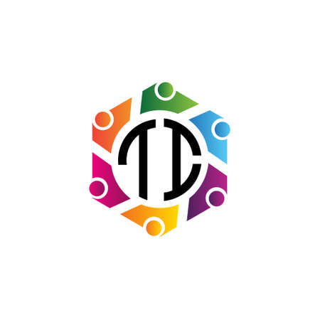 Community Hexagon Initial Letters TI logo. Purpose for network, team or social work.