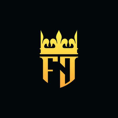 Initial Letters FJ logo monogram emblem style with crown. Vector illustration Logó