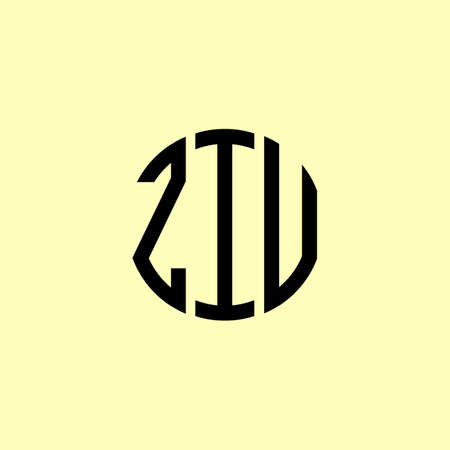 Creative Rounded Initial Letters ZIU Logo. It will be suitable for which company or brand name start those initial. Illusztráció