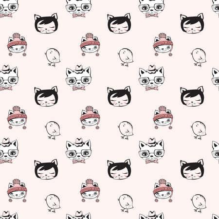 cat Seamless Pattern Design . Vector Illustration.