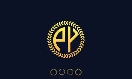 Organization Rounded Initial Letters PY logo. Vector illustration Ilustrace