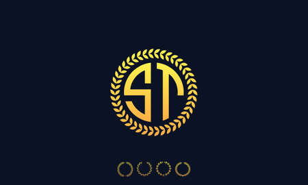 Organization Rounded Initial Letters ST logo. Vector illustration