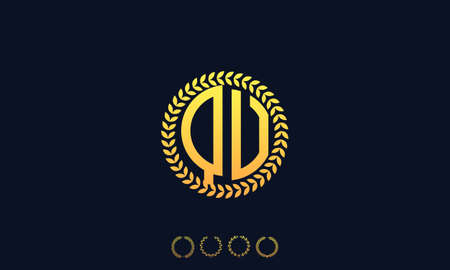 Organization Rounded Initial Letters QU logo. Vector illustration Ilustrace