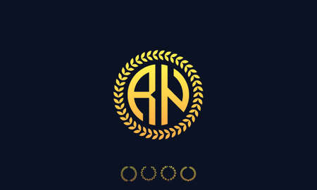 Organization Rounded Initial Letters RN logo. Vector illustration Ilustrace