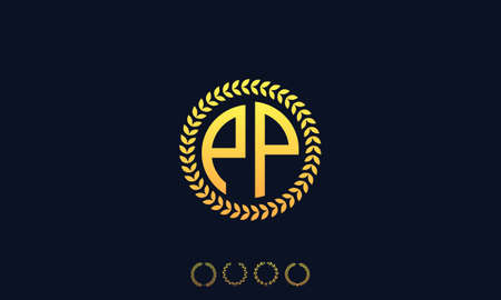Organization Rounded Initial Letters PP logo. Vector illustration Ilustrace