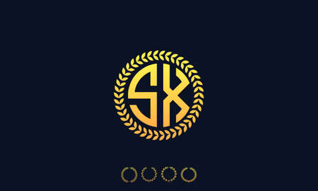 Organization Rounded Initial Letters SX logo. Vector illustration Ilustrace