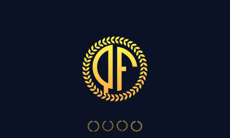 Organization Rounded Initial Letters QF logo. Vector illustration Ilustrace