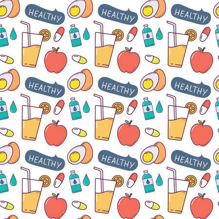 healthy Seamless Pattern Design. Vector Illustration.
