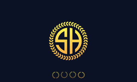 Organization Rounded Initial Letters SH logo. Vector illustration