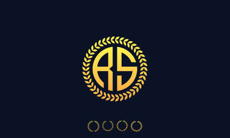 Organization Rounded Initial Letters RS logo. Vector illustration