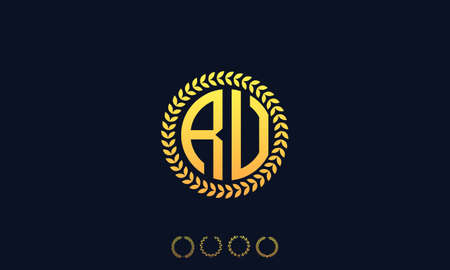 Organization Rounded Initial Letters RU logo. Vector illustration