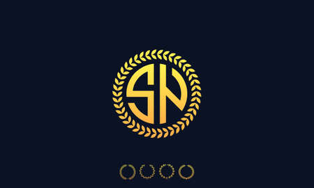 Organization Rounded Initial Letters SN logo. Vector illustration
