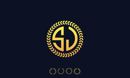 Organization Rounded Initial Letters SJ logo. Vector illustration