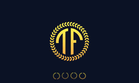 Organization Rounded Initial Letters TF logo. Vector illustration