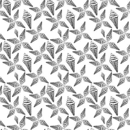 ice Cream Seamless Pattern Design Vector Illustration.