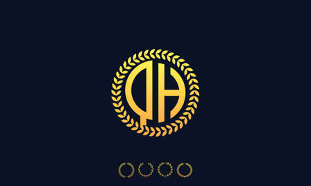 Organization Rounded Initial Letters QH logo. Vector illustration