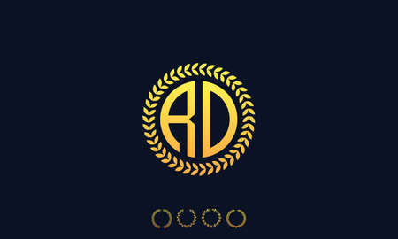 Organization Rounded Initial Letters RD logo. Vector illustration
