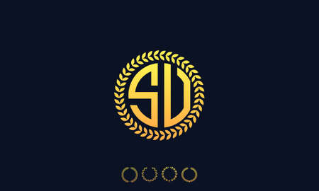Organization Rounded Initial Letters SU logo. Vector illustration